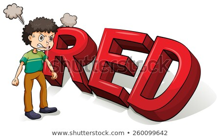 Boy beside the big red letters Stock photo © bluering