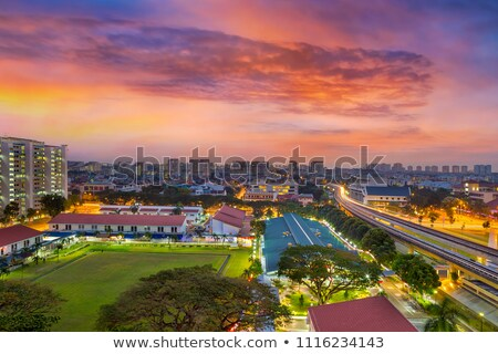 Sunrise over Singapore Residential Neighborhood Stock photo © davidgn