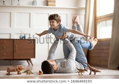 Foto stock: Família · jogar · casa · mulher · menina · homem