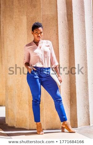 Kısa saç siyah yüksek kadın yüz moda Stok fotoğraf © toyotoyo