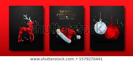 Christmas and New Year red low poly card set Stock photo © cienpies