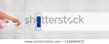 temizleyici · kova · süpürge · beyaz · kadın - stok fotoğraf © andreypopov