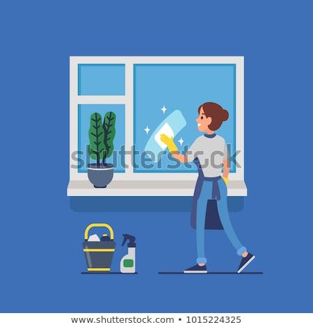 Foto stock: Mulher · limpeza · janela · escritório · mulher · jovem · guardanapo