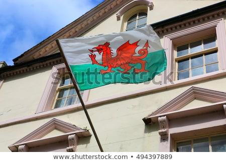 Huis vlag wales rij witte huizen Stockfoto © MikhailMishchenko