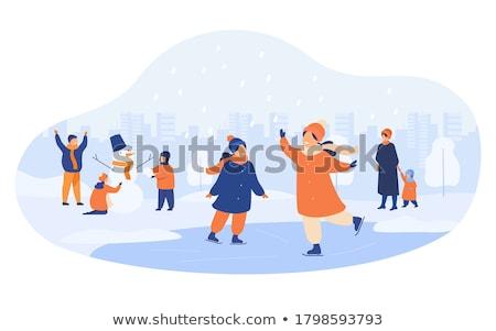 pupazzo · di · neve · indossare · sciarpa · illustrazione · cap · Natale - foto d'archivio © robuart