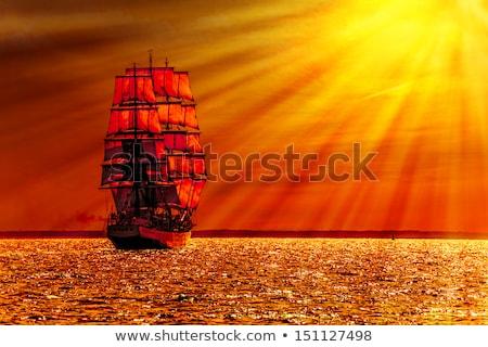 Vitorlás hajó narancs égbolt nap tenger nyár Stock fotó © mayboro