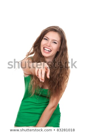 portrait of attractive smile laugh teenage girl, pointing her fi Stock photo © dacasdo