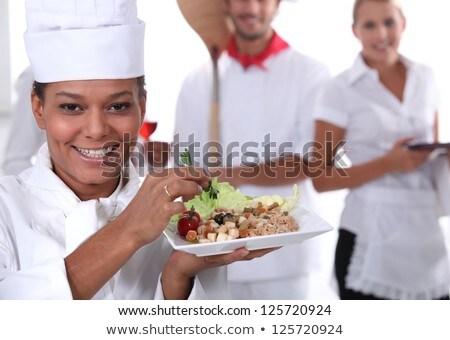 gotować · naczyń · pizza · kelnerka · uniform - zdjęcia stock © photography33