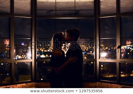 Szerelmespár sziluettek fekete illusztráció vektor Stock fotó © derocz