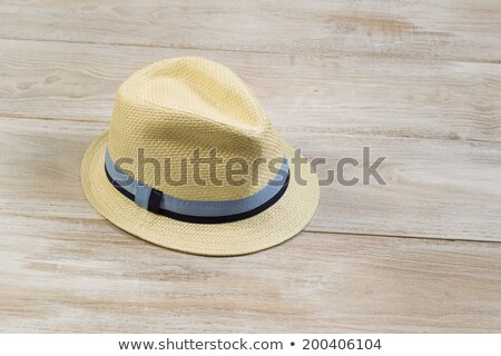 New Straw Hat on Faded Wood  Stock photo © tab62