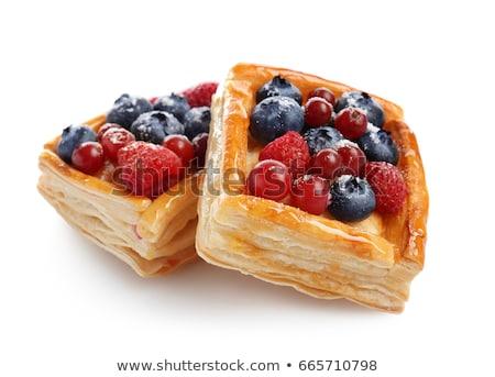 Stockfoto: Gebak · frambozen · vers · mint · dessert · eten