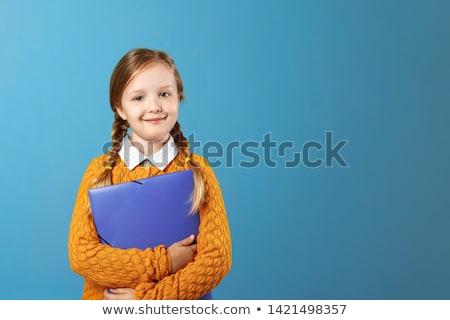 boldog · lány · tart · színes · mappák · oktatás · emberek - stock fotó © dolgachov