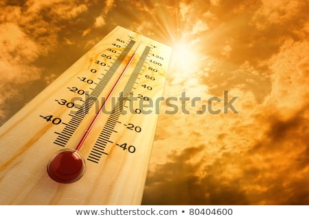 3d thermometer heat on wood background stock photo © oakozhan