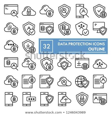 Stock fotó: Számítógép · biztonság · rajz · ikon · vektor · izolált