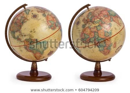 Vintage Wooden World Globe Stock photo © albund