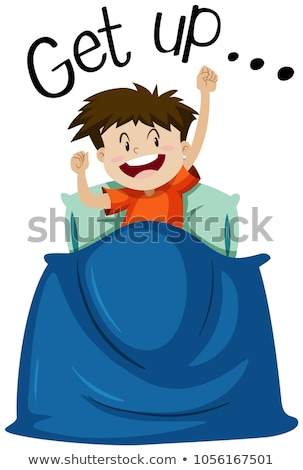 Wordcard for get up with boy getting up Stock photo © bluering
