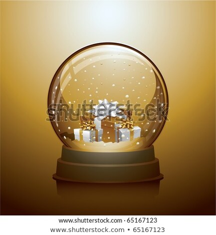 Stock photo: snow globe ball with gift boxes realistic new year chrismas object isolated on transperent backgroun