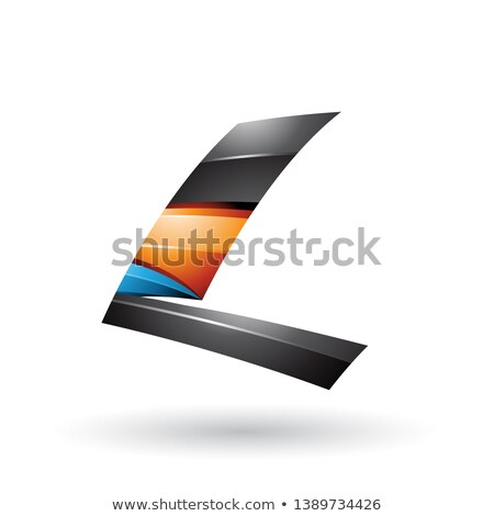 siyah · turuncu · parlak · uçan · c · harfi · vektör - stok fotoğraf © cidepix