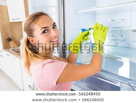 Mulher limpeza geladeira porta spray detergente Foto stock © AndreyPopov