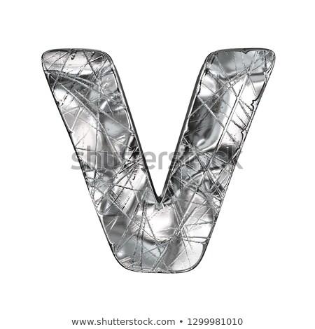 Grunge aluminium foil font letter V 3D Stock photo © djmilic