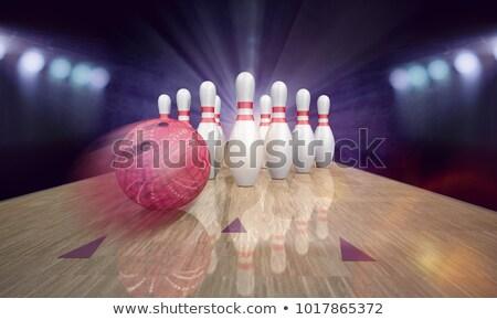 Bowling Pindeck Blue Pins Stock photo © limbi007