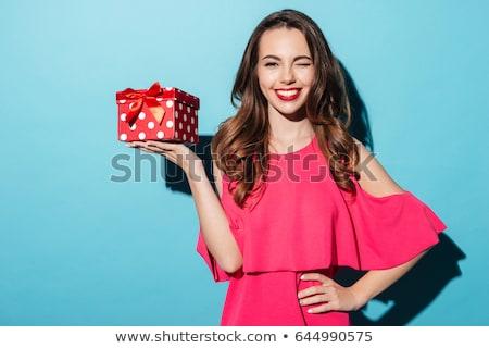 szőke · nő · tart · ajándék · doboz · ül · szőnyeg · lány - stock fotó © neonshot