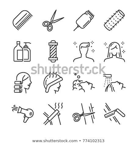 Hair Styling Hairdresser Washing Head Set Vector Stock photo © robuart
