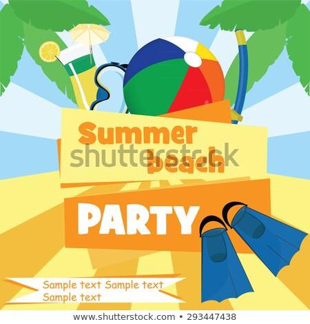 summer fun poster swimming equipments vector stock photo © robuart