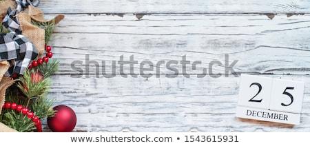 Décembre calendrier blocs blanche rustique 25 Photo stock © StephanieFrey
