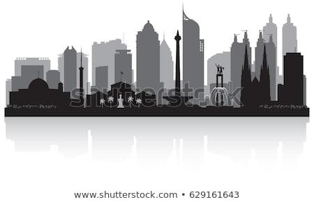 Jakarta zwart wit silhouet eenvoudige toerisme Stockfoto © ShustrikS