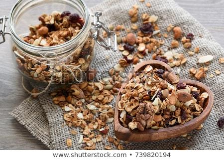 Házi készítésű granola friss eper reggeli desszert Stock fotó © furmanphoto