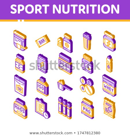 Sport Nutrition Cells Vector Isometric Icons Set Stock photo © pikepicture
