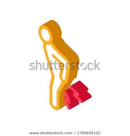 Ból w krzyżu izometryczny ikona wektora podpisania kolor Zdjęcia stock © pikepicture