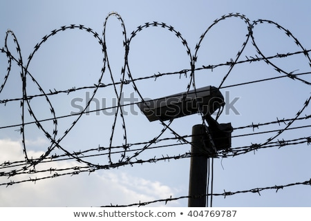Security camera behind barbed wire fence on the prison wall Stock photo © boggy