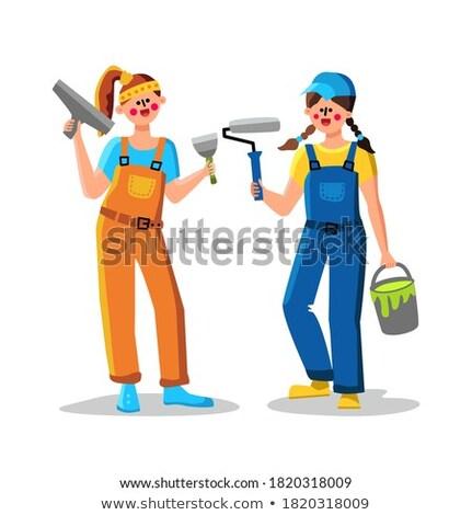 Fiatal festő nő munka otthon festék Stock fotó © photography33