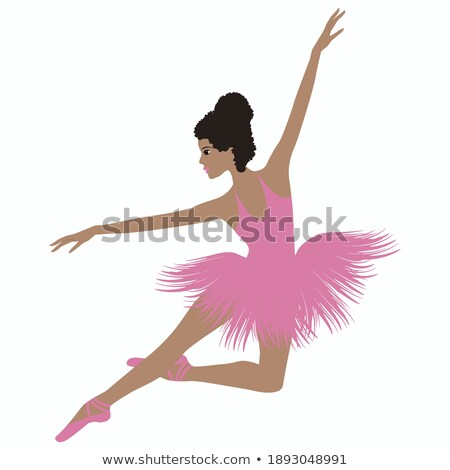 Dancer black girl in pink ballet tutu stretching Stock photo © pekour