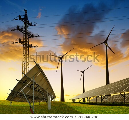 electrical power line with wind generator in rural landscape Stock photo © meinzahn
