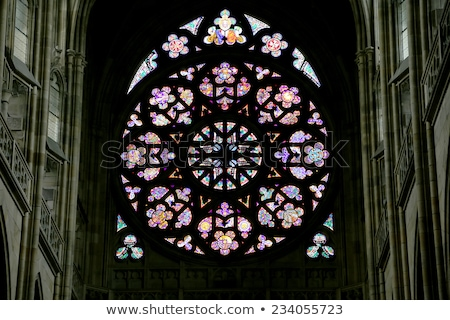 stained glass inside st vitus cathedral stock photo © nejron