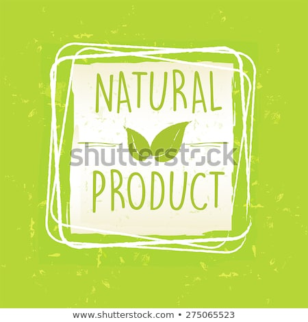 Natural Product With Leaf Sign In Frame Over Green Old Paper Bac Stockfoto © marinini