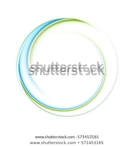 Bright glow green iridescent round logo Stock photo © saicle