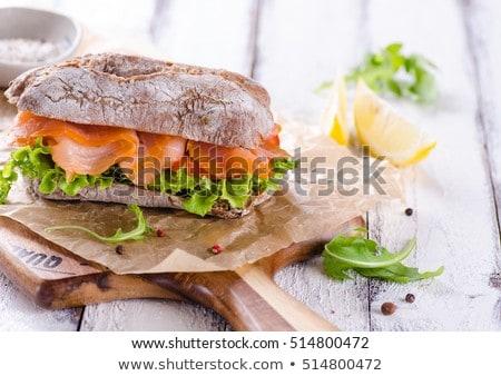 Sandwich gerookte zalm rollen tomaat lunch Stockfoto © Digifoodstock