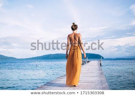 pár · sétál · marina · móló · élvezi · vakáció - stock fotó © is2