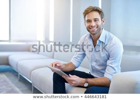 adam · dizüstü · bilgisayar · gülen · portre · başarı - stok fotoğraf © is2