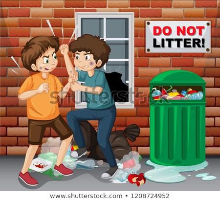 улице подростков следующий мусор иллюстрация Сток-фото © bluering