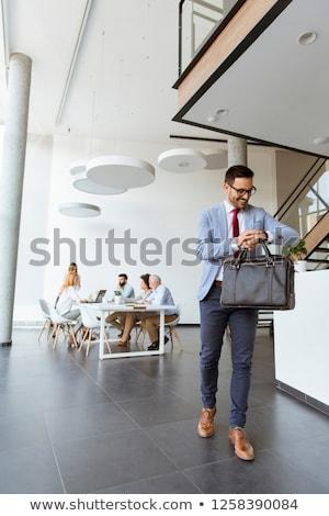 üzletember · iroda · lezser · lobbi · hordoz · bőrönd - stock fotó © boggy