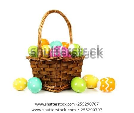 colorido · ovos · de · páscoa · bichano · salgueiro · lousa - foto stock © karandaev