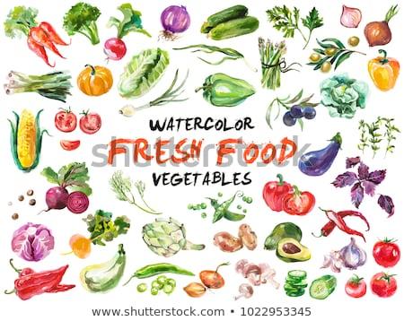Avocado on green background. Watercolor illustration Stock photo © ConceptCafe