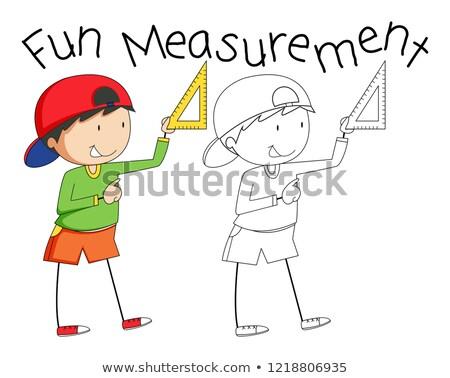 болван мальчика измерение инструментом иллюстрация Сток-фото © colematt