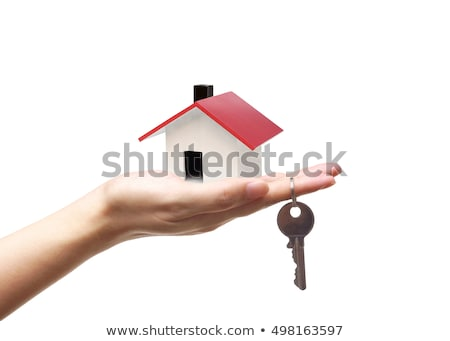 female hand holding key to the house on background of wooden door owning real estate concept stock photo © galitskaya