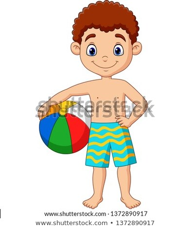 Desenho animado menino bola de praia ilustração criança Foto stock © bennerdesign